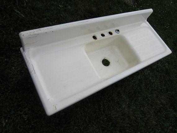 Cast Iron Farmhouse Kitchen Sink Vintage Modern Single Basin 5 Feet Long Mad