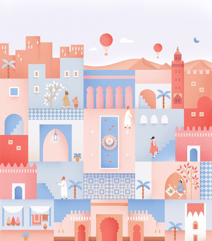 Postcard from Morocco on Behance | Illustration by Putri Febriana