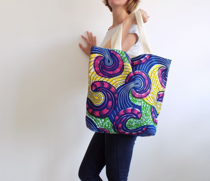 Summer bag handcrafted in Italy, using original real wax cotton fabric
