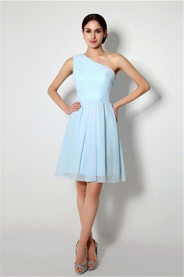 A Line One Shoulder Short Light Blue Chiffon Bridesmaid Party Dress