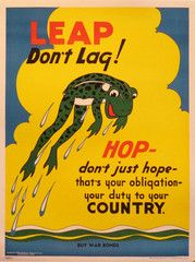 Original American WWII War Bonds Poster, Leap Don't Lag!