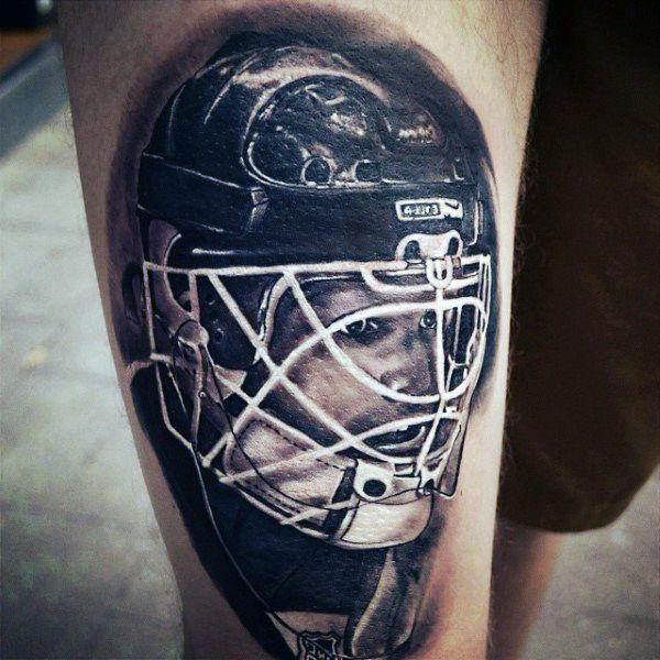 Shaded Realistic Mens Hockey Helmet Thigh Tattoos Hockey Tattoo Hockey Stick Hockey Helmet