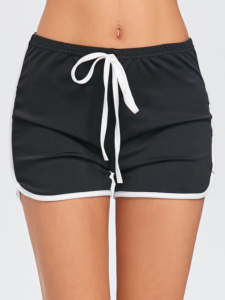 Drawstring Two Tone Sports Shorts - BLACK L