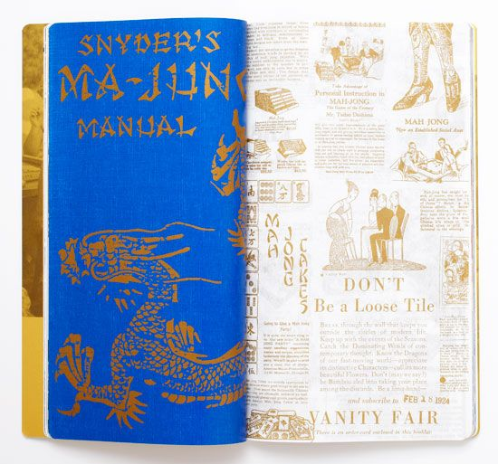 At left: Cover detail of a bestselling mah jongg manual from the 1920s. Right: Vintage advertisements.