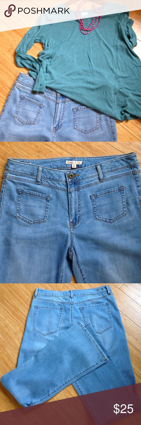 CAbi Malibu Light Denim Jeans, Size 12 Long Lighter weight denim jeans by CAbi, Style #223L.  Size 12 Long.  EUC.  (Turquoise shirt is listed for sale on a different listing, necklace not for sale) CAbi Jeans