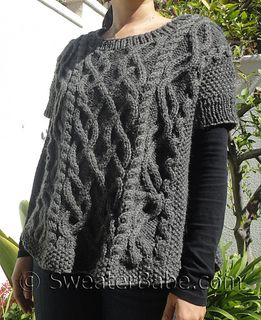 Like chocolate-y goodness, is there really such a thing as too many cables?! This wonderfully unique poncho top features lots of intertwining cables on the front and back - making it a project that will surely not bore you!