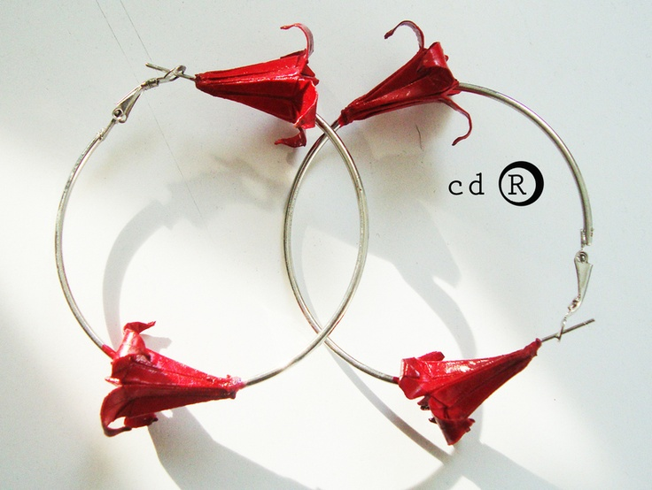 Originami flowers  on hoops are earrings - hoops  with two flowers made of paper in origami technique and laquered to be firm and longlasting