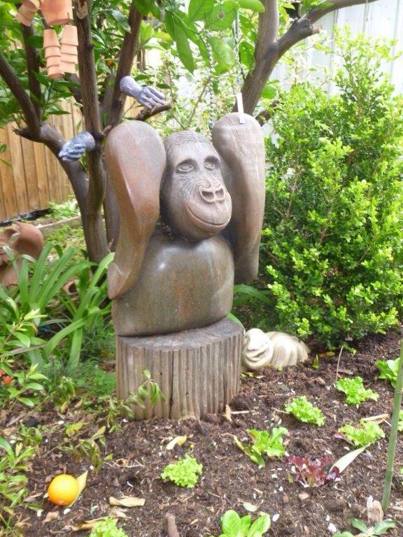 Lesley Barrett's garden with her work.