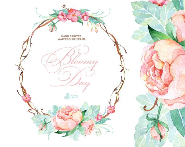 Bloomy Day. Watercolor Frame wreath wedding от OctopusArtis