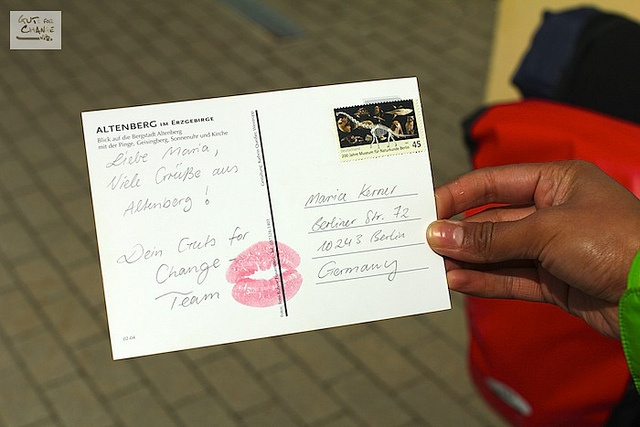 Maushami sending post cards to supporters by http://www.gutsforchange.de
