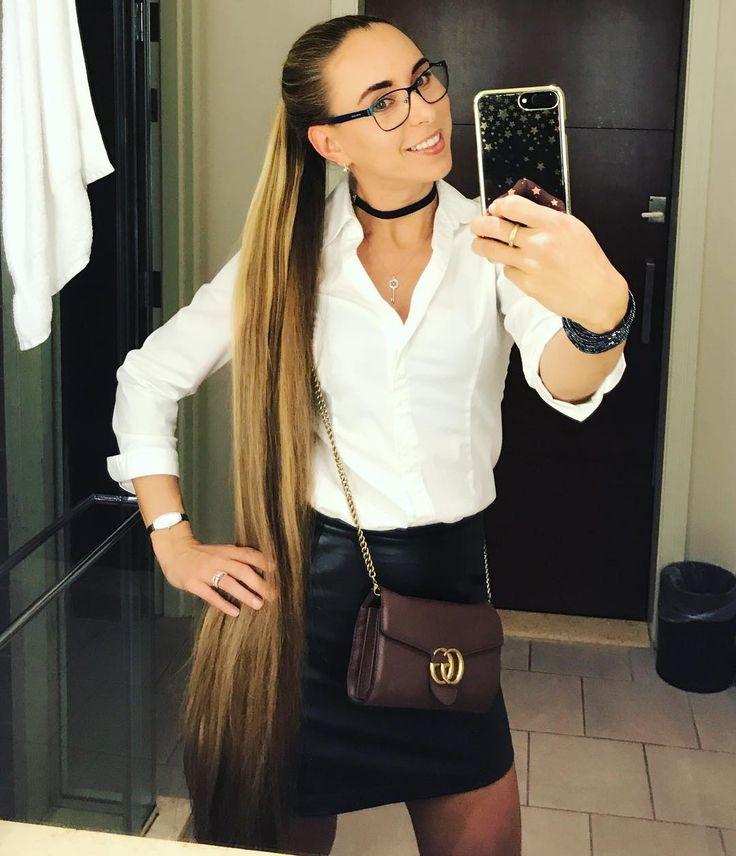 #selfie #girl #librarian #style #longhair #ponytail #smile #glasses #leather #blonde #casino #newengland #sexy #sexiesthair #superlonghair #happygirl