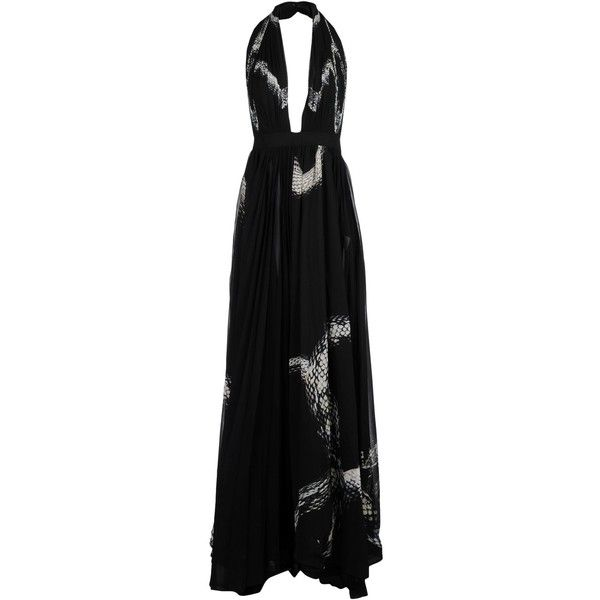 Just Cavalli Long Dress ($1,242) ❤ liked on Polyvore featuring dresses, black, animal print dress, no sleeve dress, long dresses, zip dress and animal print long dress
