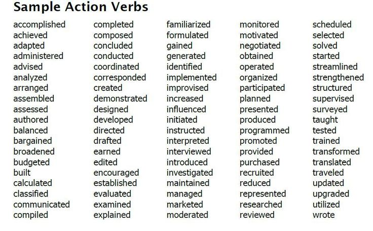 Top 12 Tips for Writing a Great Resume Action verbs