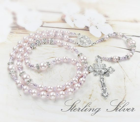 Baby Girl Baptism Rosary Personalized with by BaptismBracelets