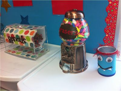 *Teaching Maddeness*: Possibly the Perfect Pencil System - Super cute, Pencil dispenser is a straw dispenser and erasers are out of the gumball machine. Love this!