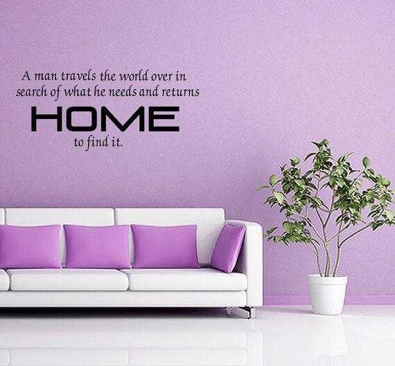 A Man Travels The World Vinyl Home Wall Decal Art Decor (V260)