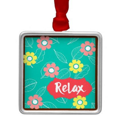 Teal Coral Pink Relax Spring Floral Metal Ornament - spring gifts beautiful diy spring time new year