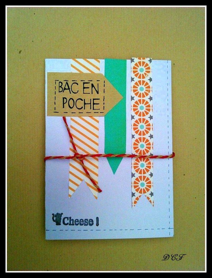 """Carte de félicitations pour le BAC """"bac en poche"""" : Cartes par del-crea-fete"""