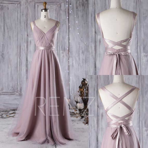 2017 Thistle Bridesmaid Dress, A Line Wedding Dress, Mesh Draped Prom Dress, Backless Evening Gown, Long Formal Dress Floor Length (JS081)