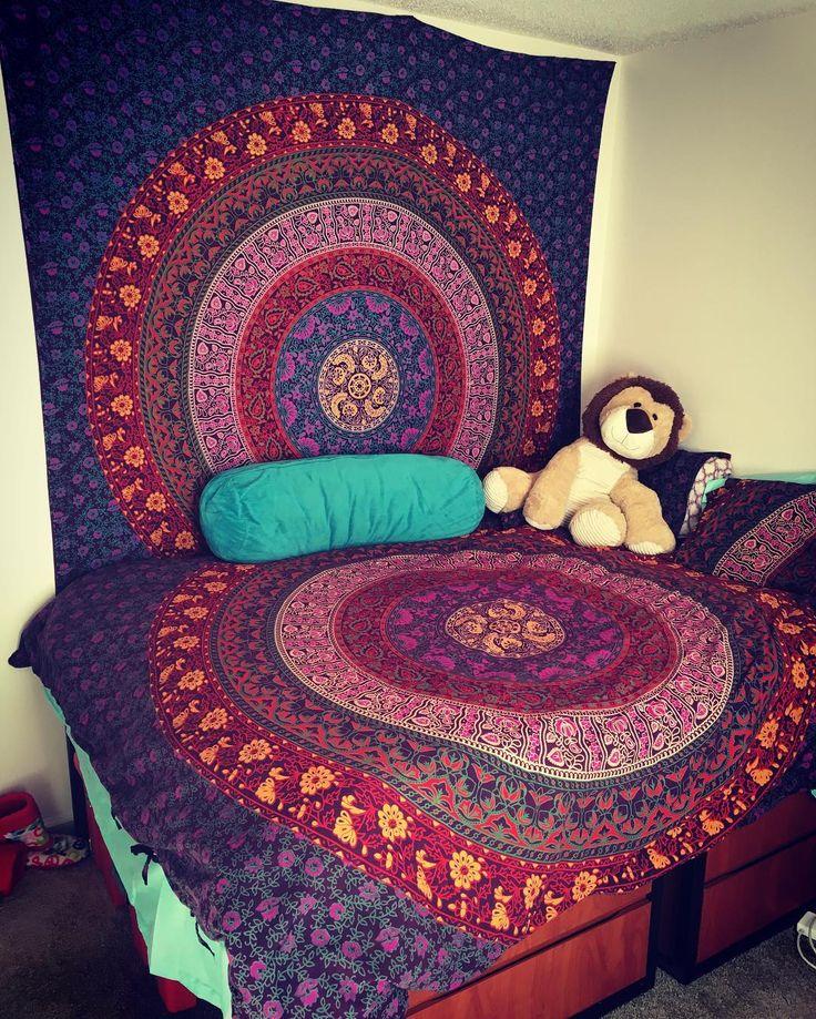 Loving My New Room With Tapestry Bedding Set #tapestry #tapestries  #mandalatapestry #dorm Part 57