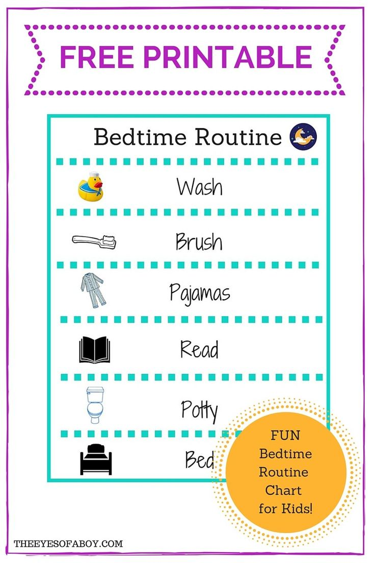 FREE PRINTABLE bedtime routine chart for Little Kids and Toddlers