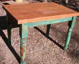 antique farm table with butcher block top, LOve!