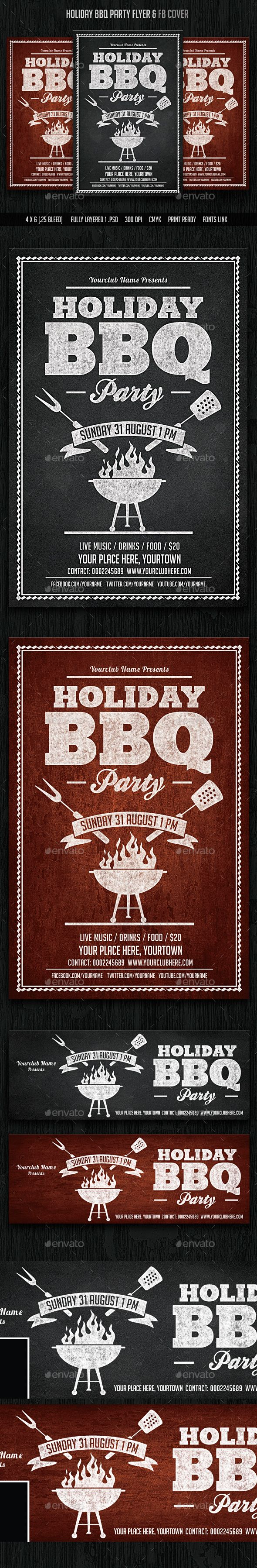 Holiday BBQ Party Flyer & Facebook Cover Template PSD #design Download: http://graphicriver.net/item/holiday-bbq-party-flyer-facebook-cover/14119659?ref=ksioks