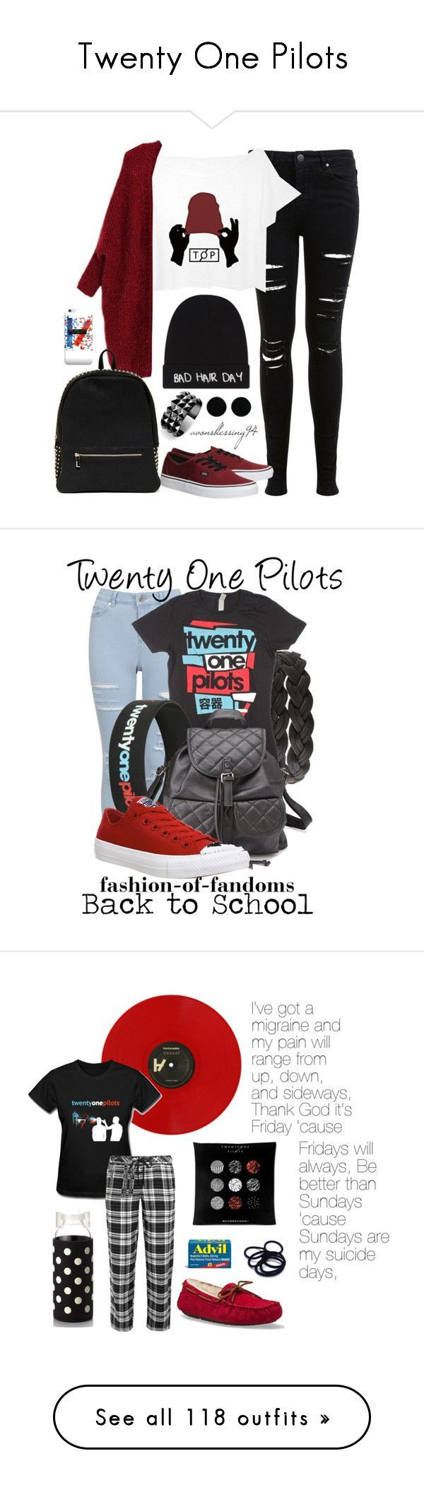 Twenty One Pilots by beatles5ever ❤ liked on Polyvore featuring Miss Selfridge, Local Heroes, Deux Lux, Vans, AeraVida, Waterford, Charlotte Russe, Converse, DKNY and UGG Australia