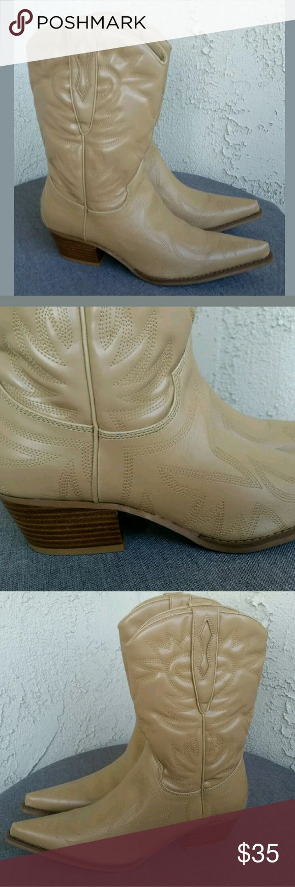 """Cathy Jean Stitched Leather Cowboy Boots 7.5 M Cathy Jean Boots Womens Camel Tan Stitched Leather Country Western Cowboy Career Casual Shoes Size 7.5 M with 2"""" Block Heel.....Excellent Condition.   Type: Shoes Style: Cowboy Boots Brand: Cathy Jean Size: 7.5 M Material: Genuine Leather Color: Camel / Tan Condition: Excellent Preowned Condition  Country of Manufacturer:  Stock Number: Shoes 0008 Cathy Jean Shoes Heeled Boots"""