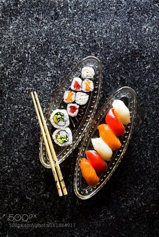 Pic: sushi menu . Sushi Set nigiri and sushi rolls maki wasabi.