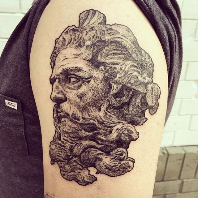 poseidon for tugra #tattoo #dotwork #sculpture #statue #realism #poseidon #neptune #olympian #deity #earthshaker…