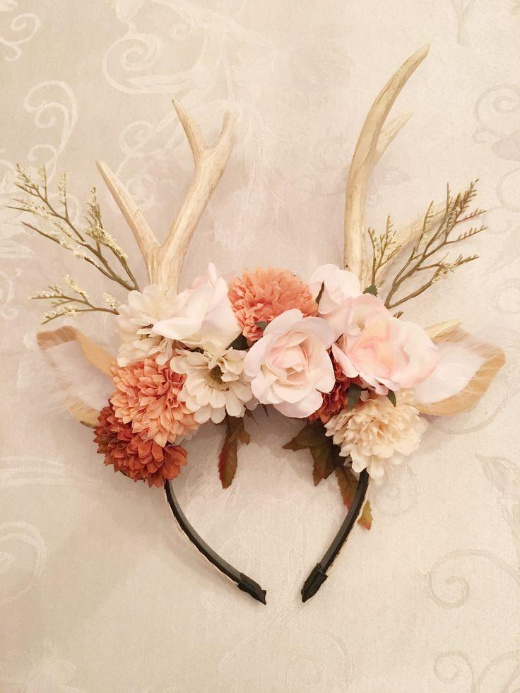 DIY Halloween deer costume . Floral antlers . DIY antlers . Bambi costume . Halloween head piece