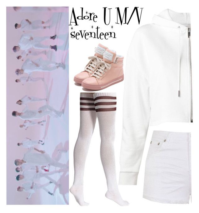 """""""Adore U M/V seventeen"""" by llavenderdreams77 ❤ liked on Polyvore featuring American Apparel, Yves Saint Laurent, Ally Fashion, Marc by Marc Jacobs, kpop, seventeen, adoreu and adoreumv"""