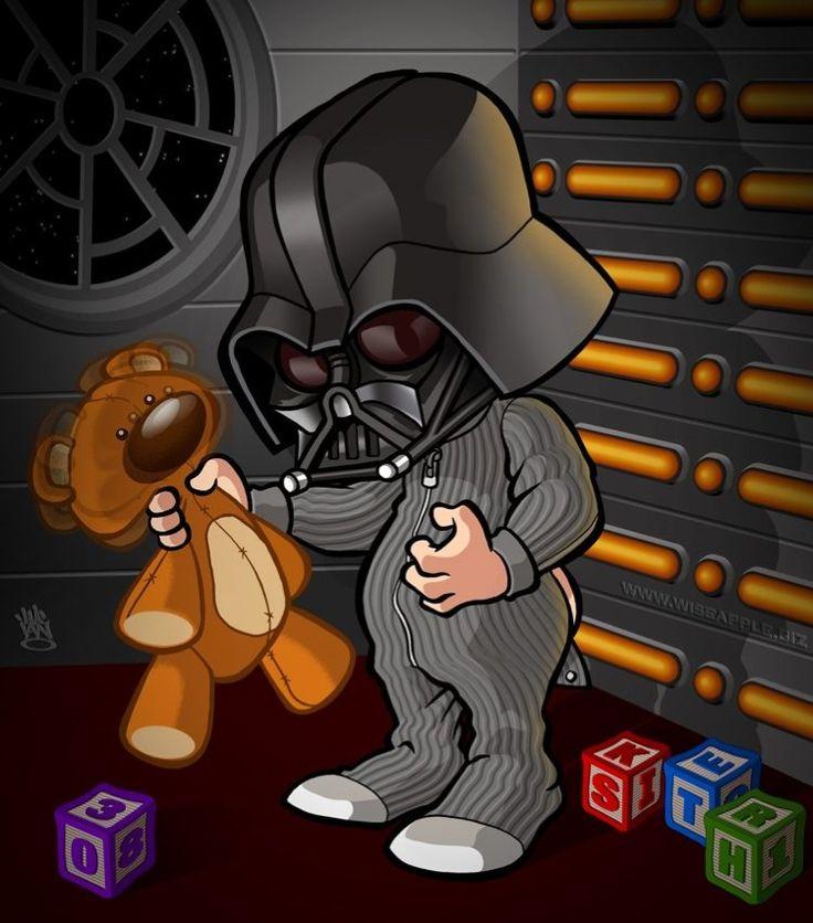 Little Vader e seu ursinho de pelúcia.