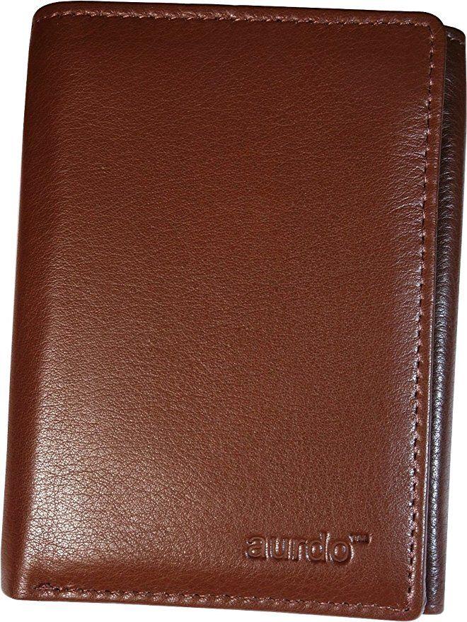 Mens Trifold Genuine Leather Wallet RFID Blocking Black Brown Tan Burgundy New