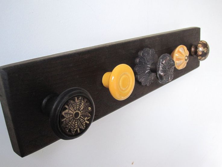 Making this!! Scarf Rack, Necklace Organizer, Jewelry Holder, Wall Hanging, with Brown and Mustard Yellow Decorative Knobs. $32.50, via Etsy.