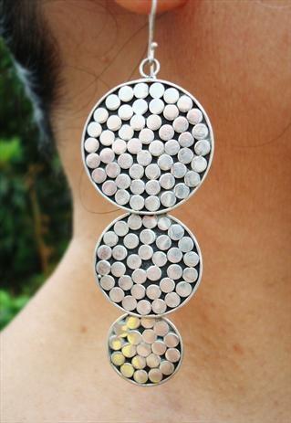 sterling silver long exotic earrings