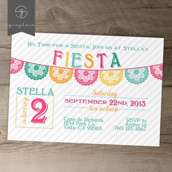 Fiesta Birthday Invitation / invites / Mexican Party Invite / fun colorful banner / No time for a siesta! // greylein