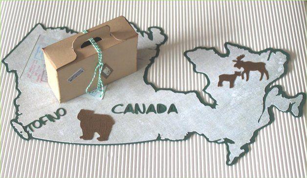 Ein besonderes Geldgeschenk für die Flitterwochen nach Canada. Der Umriss des Landes als Grundlage des Geschenkes. Dieser Umriss ist nach Vorlage von der Webseite www.d-maps.com gearbeitet. Darauf...