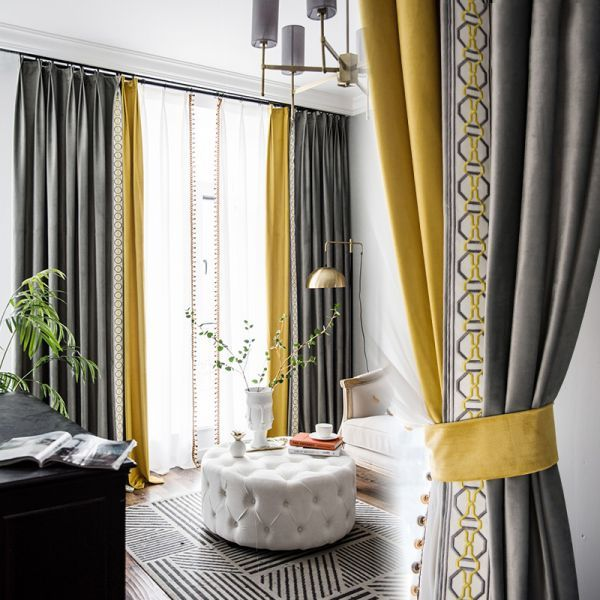 Blending Patchwork Curtain Sets 2 Piece 4 Prong Pinch Pleat Drapery Panels For Liv Curtains Living Room Modern Curtains Living Room Grey And Yellow Living Room