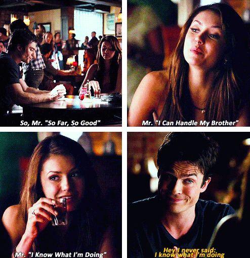 — Nina Dobrev as Elena Gilbert and Ian Somerhalder as Damon Salvatore in The Vampire Diaries