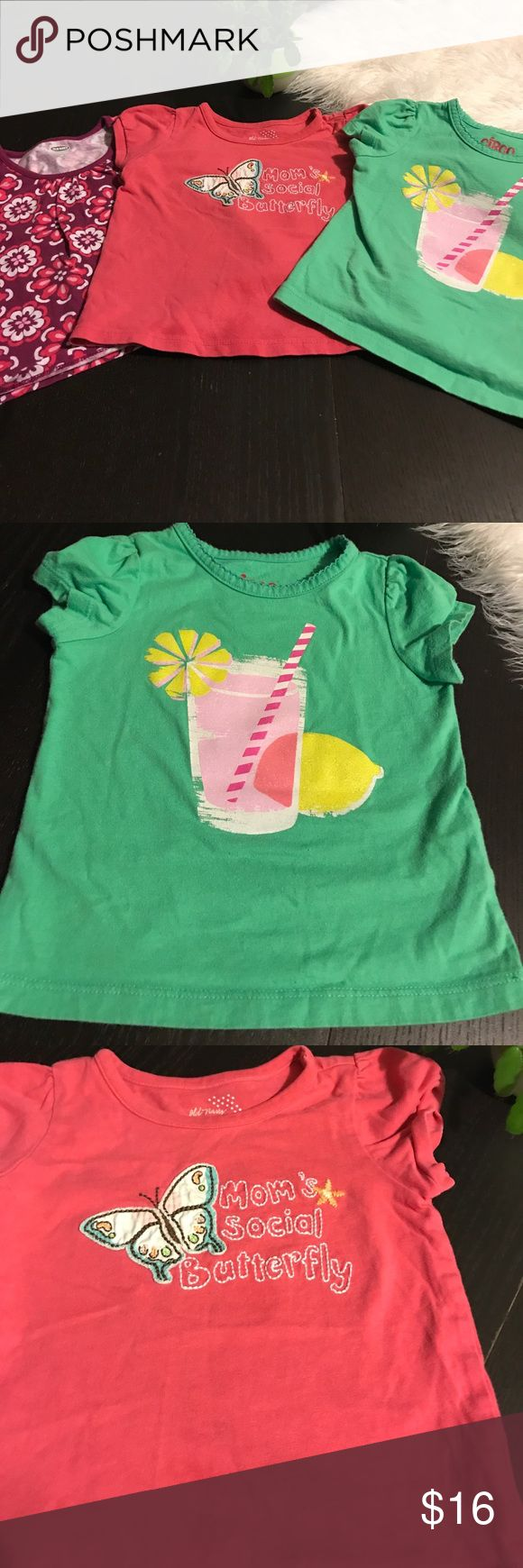 Lot of 18 Month Girl Tees All EUC. No stains or holes. Good to have for jeans, skirts or shorts. Pink shirts are Old Navy 18-24 Month. Green is Circo 18 Month. Old Navy Shirts & Tops Tees - Short Sleeve