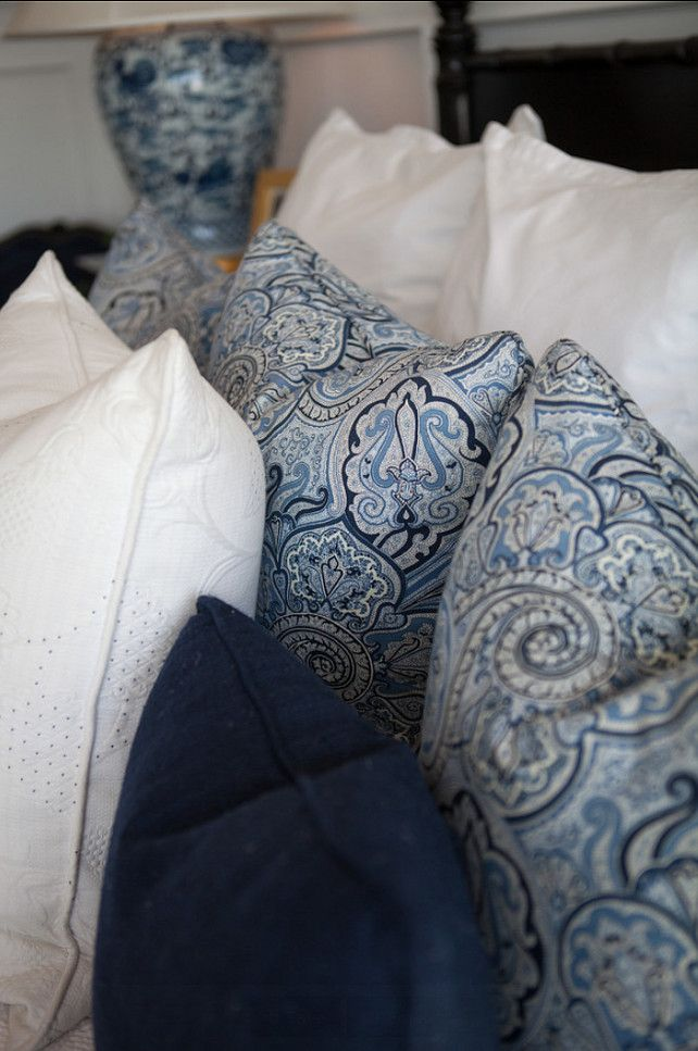 Pillow Fabric Ideas. Blue and white pillow fabrics.  Bedroom inspiration