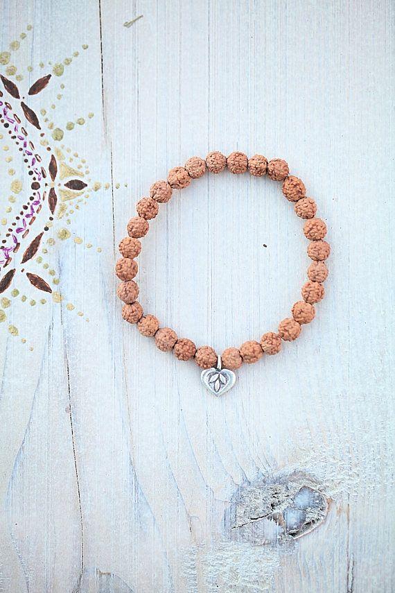 Rudraksha bracelet heart charm silver gift spirit yoga