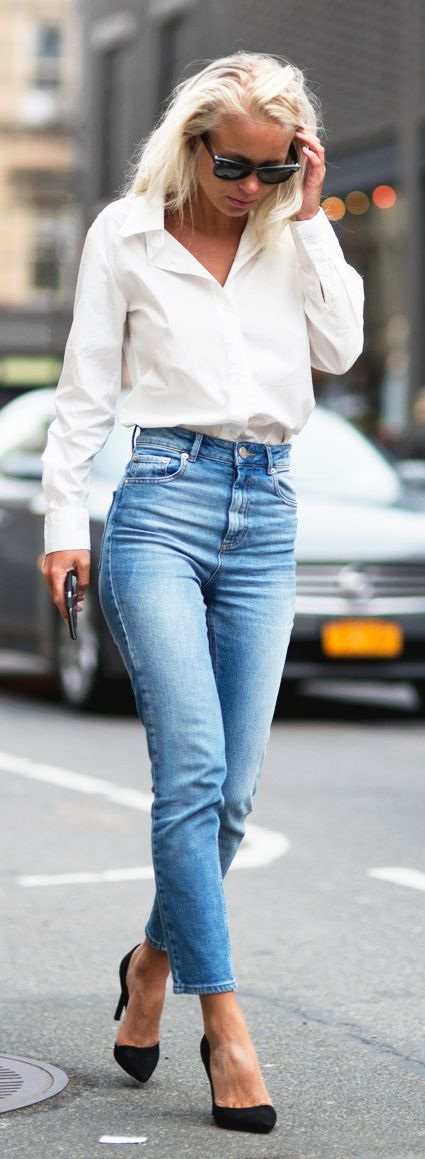 Ankle Jeans And Boyfriend Shirt Outfit Idea