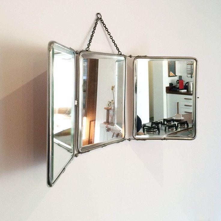 Vintage French Triptyque Tri-Fold Mirror #2