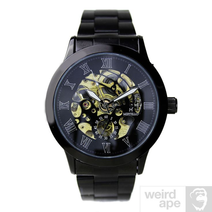 Shop online for mechanical #watches at Weird Ape. The Mirtello Black and Gold is a beautiful men's watch with high-quality black faux-leather strap. Just £35.