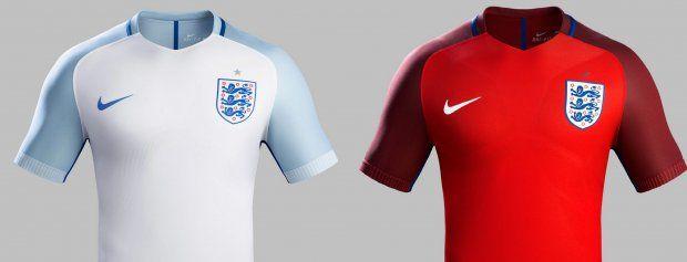 Нова форма Англии от Nike сочетает в себе основной цвет - белый со светло-серыми и синими королевскими элементами и впервые идет в комплекте с красными гетрами. Выездная футболка красно-белая с синими деталями, красными шортами и голубыми гетрами.