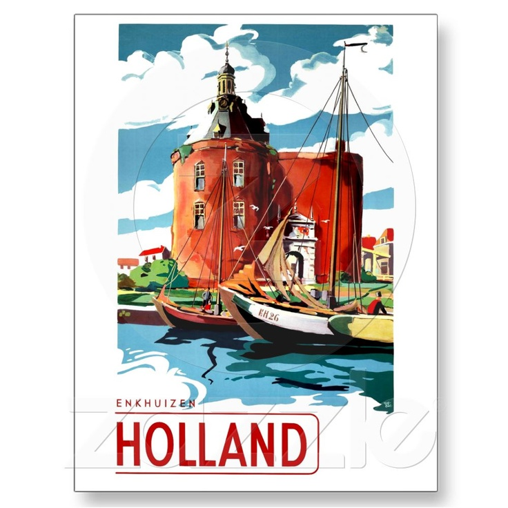 Holland ~ Vintage Netherlands Travel Poster Enkhuizen