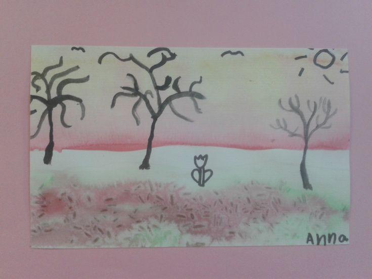 Projekt med 1. klasse om akvarelmaling og forskellige teknikker. Detaljer malet med sort tusch. De har selv valgt baggrund ud fra hvad der passede til billedet.